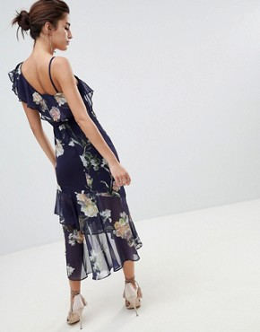 photo Floral Layered Shoulder Dress with Ruffle Asymetric Hem by Hope & Ivy, color Navy Floral - Image 2