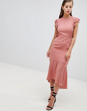 photo Lattice Back Pencil Dress with Ruffle by Hope & Ivy, color Park Rose - Image 1