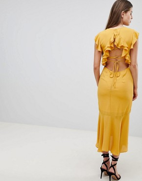 photo Lattice Back Pencil Dress with Ruffle by Hope & Ivy, color Ochre - Image 2