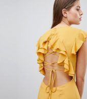 photo Lattice Back Pencil Dress with Ruffle by Hope & Ivy, color Ochre - Image 3