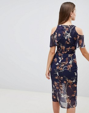 photo Cold Shoulder Pencil Dress with Keyhole by Hope & Ivy, color Navy Floral - Image 2
