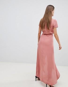 photo Wrap Tea Dress by Hope & Ivy, color Blush - Image 2