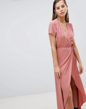 photo Wrap Tea Dress by Hope & Ivy, color Blush - Image 1