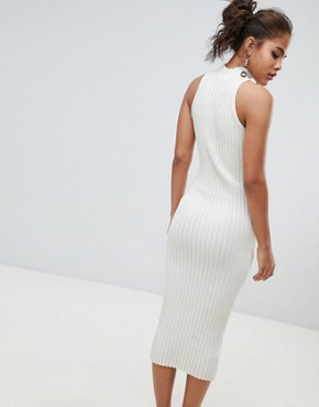 photo Knitted Midi Dress in Skinny Rib by ASOS DESIGN Tall, color Oatmeal - Image 2