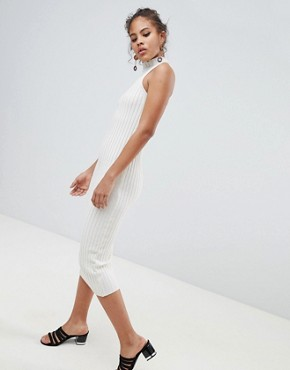 photo Knitted Midi Dress in Skinny Rib by ASOS DESIGN Tall, color Oatmeal - Image 4