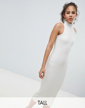 photo Knitted Midi Dress in Skinny Rib by ASOS DESIGN Tall, color Oatmeal - Image 1
