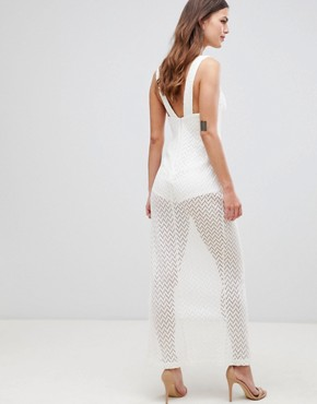 photo Crochet Cupped Sheer Maxi Dress by ASOS DESIGN, color Ivory - Image 2