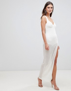photo Crochet Cupped Sheer Maxi Dress by ASOS DESIGN, color Ivory - Image 1
