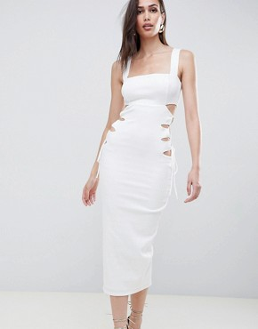 photo Square Neck Textured Cut Out Midi Dress by ASOS DESIGN, color Ivory - Image 1