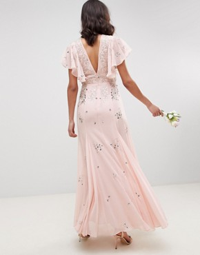 photo Bridesmaid Embellished Maxi Dress with Angel Sleeve by ASOS DESIGN, color Blush - Image 2