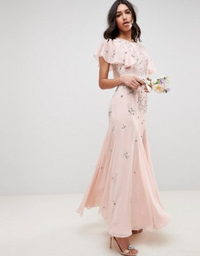 photo Bridesmaid Embellished Maxi Dress with Angel Sleeve by ASOS DESIGN, color Blush - Image 1