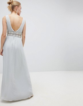 photo Pleated Maxi Dress with Embellished Trim by ASOS DESIGN, color Pale Grey - Image 2