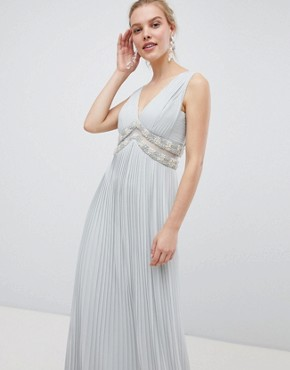 photo Pleated Maxi Dress with Embellished Trim by ASOS DESIGN, color Pale Grey - Image 1