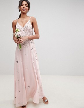 photo Bridesmaid Embellished Cami Maxi Dress by ASOS DESIGN, color Blush - Image 1