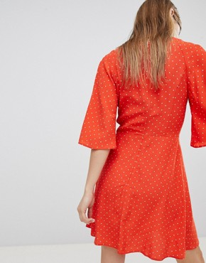 photo Tea Dress in Spot Print by Nobody's Child, color Rust Polka - Image 2