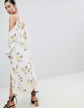 photo Cold Shoulder Maxi Dress in Ditsy Floral by Nobody's Child, color White Floral - Image 2