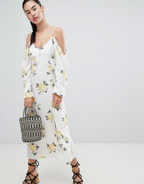 photo Cold Shoulder Maxi Dress in Ditsy Floral by Nobody's Child, color White Floral - Image 1