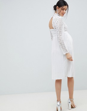 photo 3/4 Sleeve Lace Top Pleated Midi Dress by Little Mistress Maternity, color White - Image 2