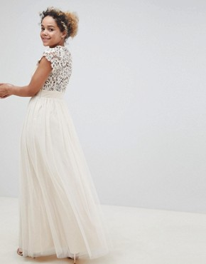 photo Maxi Dress with Lace Back by Little Mistress Petite, color Nude - Image 2