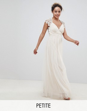 photo Maxi Dress with Lace Back by Little Mistress Petite, color Nude - Image 1