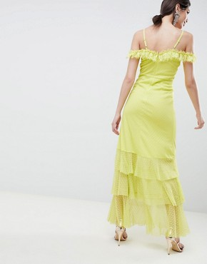 photo Cami Dobby Bardot Ruffle Fishtail Maxi Dress by ASOS DESIGN, color Lime - Image 2