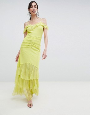photo Cami Dobby Bardot Ruffle Fishtail Maxi Dress by ASOS DESIGN, color Lime - Image 1