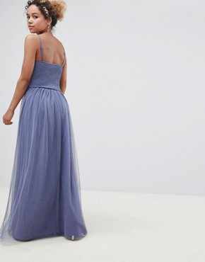 photo Floral Applique Maxi Dress by Little Mistress Petite, color Lavender Grey - Image 2