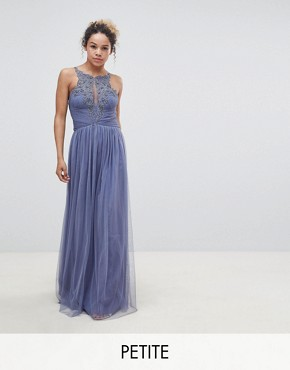photo Floral Applique Maxi Dress by Little Mistress Petite, color Lavender Grey - Image 1