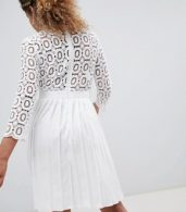 photo 3/4 Sleeve Lace Top Pleated Midi Dress by Little Mistress Petite, color White - Image 2