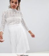 photo 3/4 Sleeve Lace Top Pleated Midi Dress by Little Mistress Petite, color White - Image 1