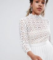 photo 3/4 Sleeve Lace Top Pleated Midi Dress by Little Mistress Petite, color White - Image 3