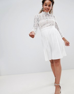 photo 3/4 Sleeve Lace Top Pleated Midi Dress by Little Mistress Petite, color White - Image 4