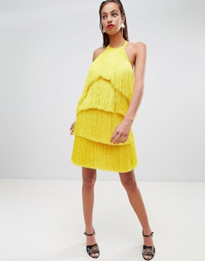 photo Fringe Halter Tassel Back Mini Dress by ASOS DESIGN Premium, color Yellow - Image 1