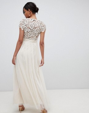 photo Maxi Dress with Lace Back by Little Mistress, color Nude - Image 2