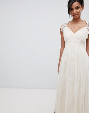 photo Maxi Dress with Lace Back by Little Mistress, color Nude - Image 1