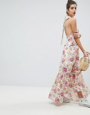 photo High Neck Floral Maxi Dress by Reclaimed Vintage Inspired, color Multi - Image 2
