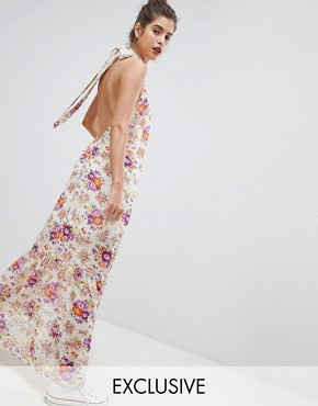 photo High Neck Floral Maxi Dress by Reclaimed Vintage Inspired, color Multi - Image 1