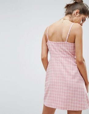 photo Check Tie Front Mini Dress by Reclaimed Vintage Inspired, color Pink - Image 2