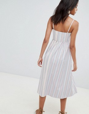 photo Stripe Button Through Sun Dress by Reclaimed Vintage Inspired, color White - Image 2