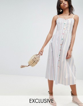 photo Stripe Button Through Sun Dress by Reclaimed Vintage Inspired, color White - Image 1