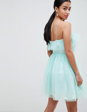photo Mini Dobby Tulle Prom Dress with Ruffle Bodice by ASOS DESIGN Petite, color Mint - Image 2