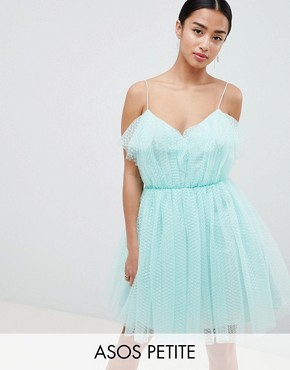 photo Mini Dobby Tulle Prom Dress with Ruffle Bodice by ASOS DESIGN Petite, color Mint - Image 1