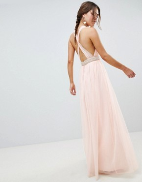 photo Tulle Maxi Dress with Embellished Waist by ASOS DESIGN, color Pale Pink - Image 2