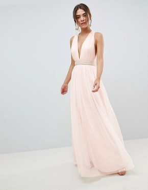 photo Tulle Maxi Dress with Embellished Waist by ASOS DESIGN, color Pale Pink - Image 1