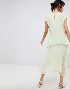 photo Layered Frill Midi Dress by Vero Moda, color Green - Image 2
