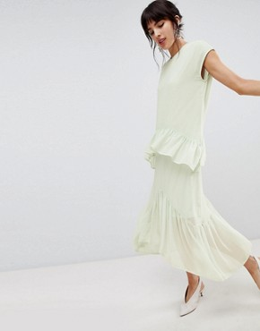 photo Layered Frill Midi Dress by Vero Moda, color Green - Image 1
