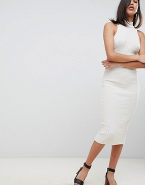 photo Knitted Midi Dress in Skinny Rib by ASOS DESIGN, color Oatmeal - Image 4