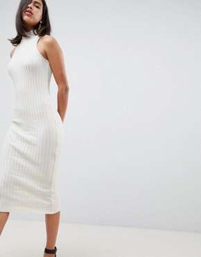 photo Knitted Midi Dress in Skinny Rib by ASOS DESIGN, color Oatmeal - Image 1