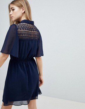 photo Navy Short Sleeve Dress by Angel Eye, color Navy - Image 2