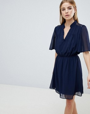 photo Navy Short Sleeve Dress by Angel Eye, color Navy - Image 1